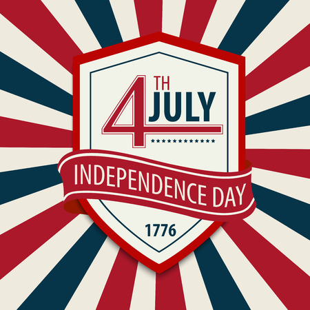 declaration: POSTCARD IN CELEBRATION OF INDEPENDENCE DAY IN THE UNITED STATES OF AMERICA 4TH OF JULY. VECTOR ILLUSTRATION Illustration