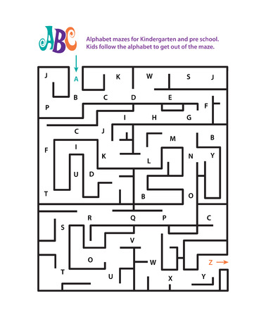pre school: Alphabet mazes for Kindergarten and pre school. Kids follow the alphabet to get out of the maze.