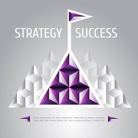 achieving: design vector illustration of success and strategy. High mountain, flag on the mountain peak, winning strategy. Achieving the goal, winning strategy with focus on results.