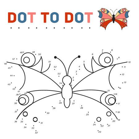 conexiones: conectar los puntos y la pintura de una mariposa en una muestra. Juego para los niños. Ilustración vectorial