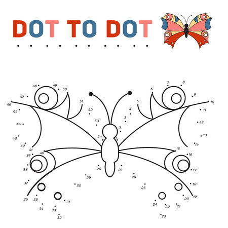 printable coloring pages: connect the dots and paint a butterfly on a sample. Game for children. Vector illustration Illustration