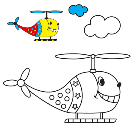 helicopter: coloring book the helicopter in the sky with clouds for young children with small items for example. vector illustration Illustration
