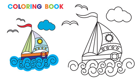 sailboat: coloring book. sailboat on the waves, to teach kids at home or in kindergarten. Vector illustration