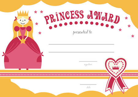 beauty contest: printable princess certificate has a pretty pink  border with a princess and can be used to give to girls to reward. vector illustration