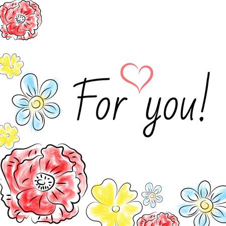 primrose: Vector  card with floral  poppy, primrose, chamomile  ornament background