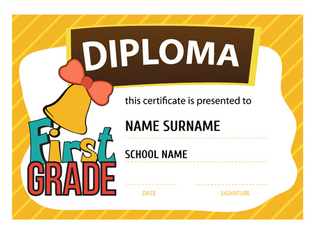graders: template vector of child diploma or certificate to be awarded to the first graders at school Illustration