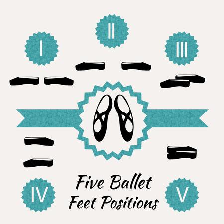 zapatillas ballet: La quinta posici�n de los pies n ballet cl�sico, ilustraci�n