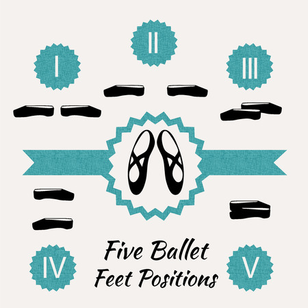 ballet shoes: The five position of the feet  n classical ballet,  illustration
