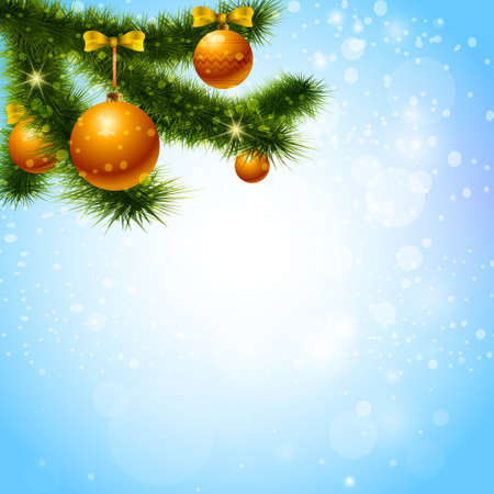 decorated christmas tree: Vector christmas  background with decorated christmas tree on shiny blue background.