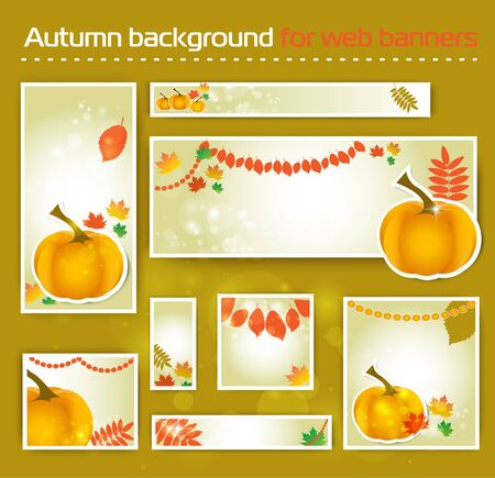 mountain ash: Set for Standard Size Web autumn  Banner for social media, site. vector illustration with pumpkin and maple leaves, mountain ash and birch trees in autumn colours