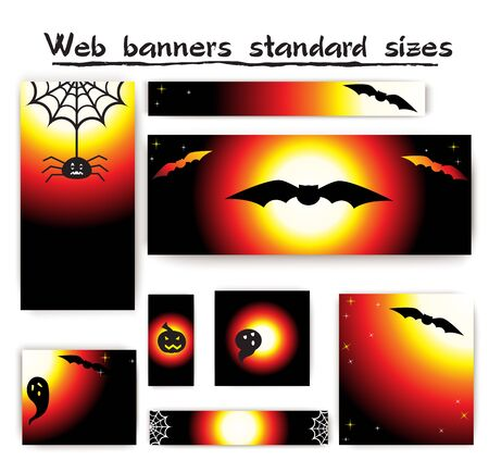 masthead: Standard size web banners Halloween collection. Website header or banner set with Halloween elementsround.
