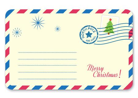 sobres para carta: Modelo de carta de año nuevo a Santa Claus con el sello y marca de franqueo. Ilustración vectorial