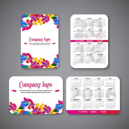 calendar: szablon kalendarza kieszeni projekt 2016 z wzorców i miejsce na logo firmy. ilustracji wektorowych Ilustracja