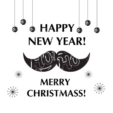 pastiche: Santas Moustache. Christmas and New year funny card design. Vector illustration Illustration