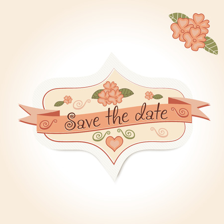 inscription: vintage wedding badge for decoration of invitations, cards. Vector retro pattern emblem for honeymooners with flowers.