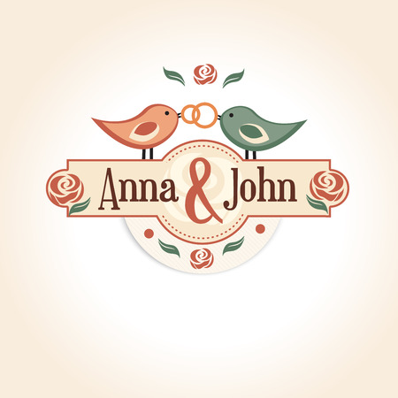 marriage invitation: wedding vintage badge in retro design with the names of the bride and groom. vector illustration with wedding rings.