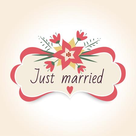 꽃과 빈티지 결혼식 배지입니다. 결혼식을위한 빈티지 프레임입니다. 벡터 일러스트 레이 션. 그냥 결혼 한 템플릿 텍스트입니다. 일러스트
