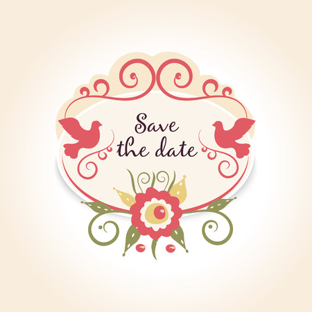 fortunately: vintage wedding badge with floral decoration. A template with example text save the date. Vector illustration Illustration