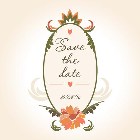 date stamp: vintage wedding badge with flowers. Vintage frame for wedding decoration.