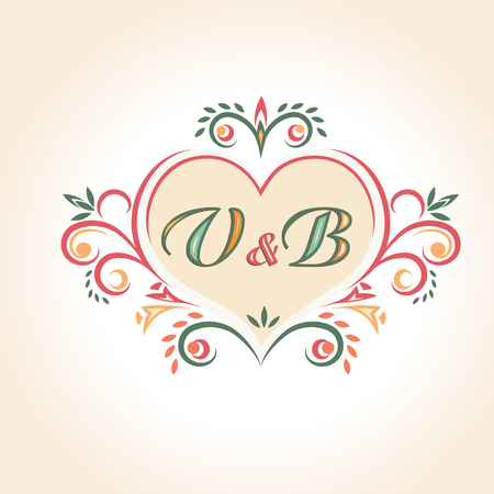 wedding reception decoration: vintage wedding badge in the shape of a heart. Retro label with monogram. For wedding decoration. Illustration