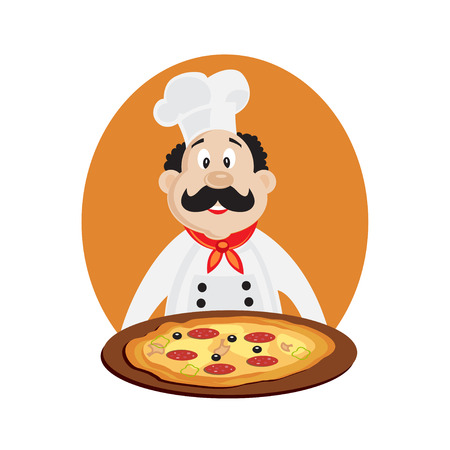 food tray: Vector illustration of funny chef with pizza. Vector illustration isolated. Cook pizza.