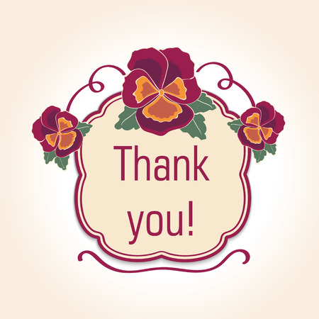 vintage  thank you cards for wedding decoration or birthday. Retro template with text. Vector illustration