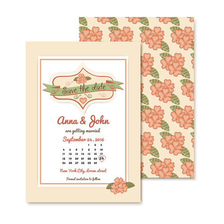 guests: vintage wedding invitation template with floral pattern. wedding vector illustration with text for invitation of guests and the calendar.