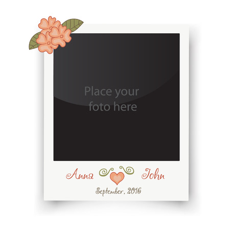scrap: Retro wedding greeting cards. Template for photo of the bride and groom. Vector wedding illustration