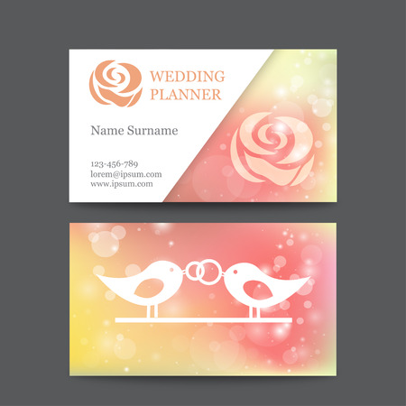 planners: vintage wedding business card template mockup with flower. Suitable for wedding planners or florist owners