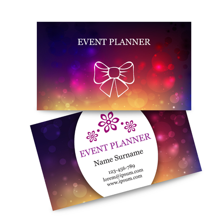 planners: Template colorful business cards for event planner. Abstract magic bokeh background. Effect blurred light, illustration. Suitable for event planners or wedding