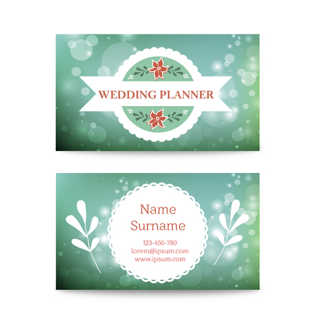 planner: creative mint business card template mock up. Suitable for wedding planners or florist owners Illustration