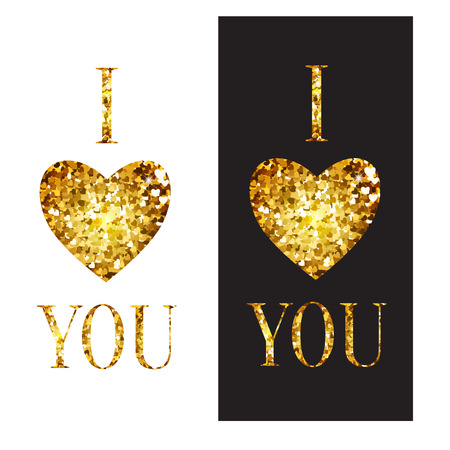 jewelry store: vector phrase I love you. Illustration with Golden heart and letters. Perfect cards for Valentines Day or advertising a jewelry store Illustration