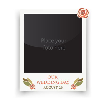 wedding photo frame: Vintage wedding frame. Template for photo of the bride and groom. Vector wedding day illustration Illustration