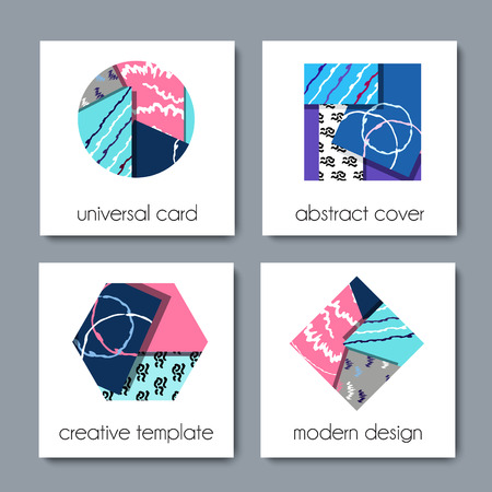 for example: Collection of modern cards with geometric shapes, abstract textures and example text.creative design for posters, covers, brochures, invitation  or birthday cards. vector illustration