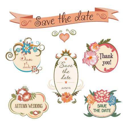結婚式のバッジのコレクション。花のフレームのセットです。結婚式の招待状や誕生日カードのベクトル図
