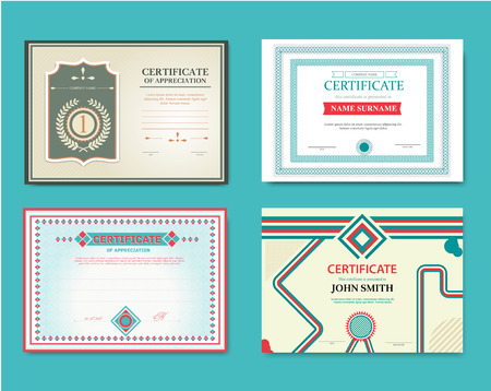 formal signature: Vector set of gift certificates. Great for certificates, diplomas, and awards. Certificate, Diploma of completion design template, background