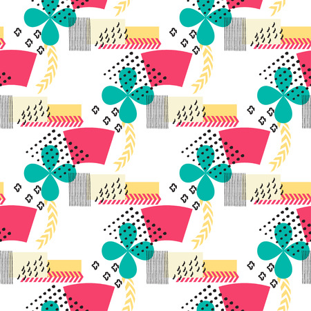 package printing: Abstract seamless pattern with geometric figures on beige background. Geometric composition for print on the paper or fabric. Vector illustration