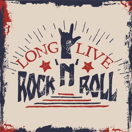 Concept de hand belettering muzikale offerte. Lang leve Rock'n'Roll label ontwerp voor t-shirts, posters, dekt. Vector illustratie.