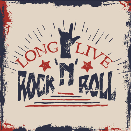 Concept hand lettering musical  quote. Long live RocknRoll label design for t-shirts, posters, , covers. Vector illustration.
