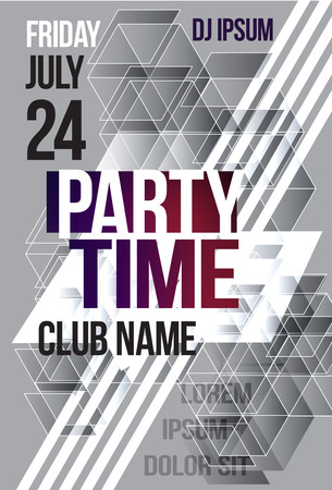 Black and white abstract flyer or brochure template graphic design. Poster for a night club event. party time cover. Vector Billboard nightclub Illustration