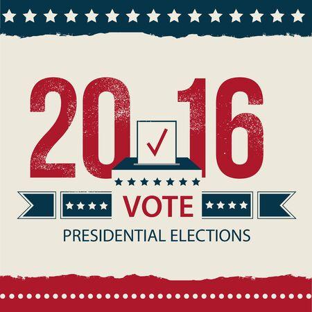 Vote Presidential Election card, Presidential Election Poster Design. 2016 USA presidential election poster. EPS 10 Vector Illustration