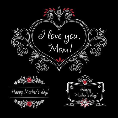 Happy mothers day vintage elements with flowers on chalkboard background. Mothers day label for print or website. Mothers day gift card