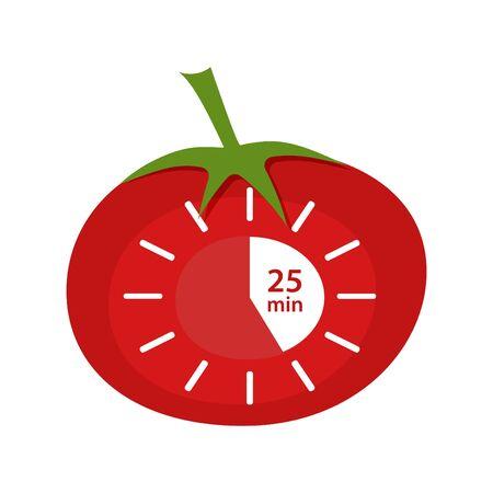 Icono del temporizador Pomodoro clásico. ilustración vectorial técnica Pomodoro
