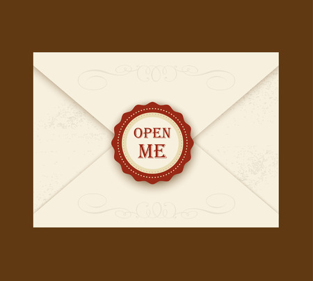 sealing wax: Envelope with rosette seal. Vector illustration. Quote Open me. ideal for invitation envelopes for a wedding or birthday party in style Alice in Wonderland