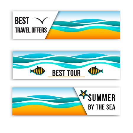 여름 바다 배너입니다. 여름 컬렉션에서 영감을 된 헤더. 여름 헤더 배너입니다. 최고의 여행 배너. 최고의 여행 상품. 일러스트