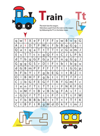 railcar: Letter Maze T. This worksheet helps kids recognize and name capital and lowercase letters. Kids also exercise thinking skills and fine motor skills as they navigate the maze. Vector train.