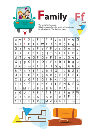 homeschooling: Letter Maze F. This worksheet helps kids recognize and name capital and lowercase letters. Kids also exercise thinking skills and fine motor skills as they navigate the maze. The family lost suitcase Illustration