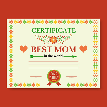 Template vector certificate best mom in the world a gift the template of the certificate diploma congratulations for mothers day in vintage retro style vector yadclub Choice Image