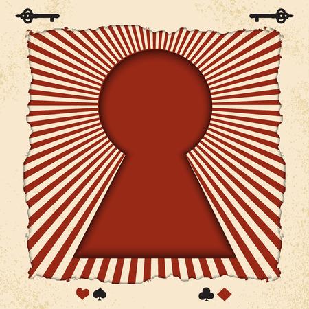 vector achtergrond met de sleutel van het sprookje Alice in Wonderland. Vectorachtergrond met stralen in uitstekende oude stijl Stock Illustratie