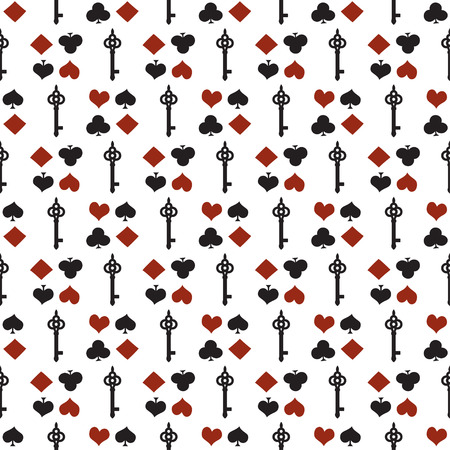 Seamless background with suits. Poker or casino seamless pattern - vector white background with red and black playing card suits and keys.